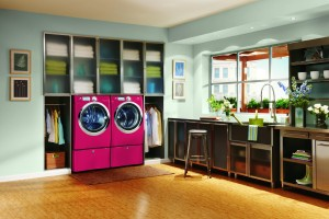 Interesting-laundry-room-organization-decorating-ideas-with-red-double-washing-machine-under-the-glass-cabinet-storage-as-well-wooden-floor-and-soft-blue-paint-wall-decor